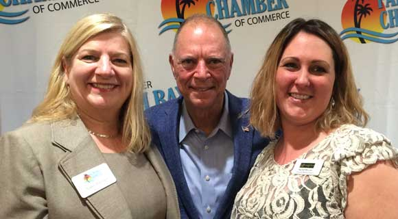 "LEFT TO RIGHT: Palm Bay Chamber President Nancy Peltonen, Congressman Bill Posey and Riverview Senior Resort's Rachel McClain. The chamber hosted a ""Meet and Greet with Congressman Posey this week at Riverview Senior Resort, located at 3490 Gran Avenue NE in Palm Bay.(Space Coast Daily image)"
